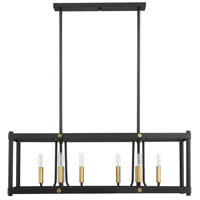 Savoy House 1-2230-8-51 Fowler 8 Light 36 inch Vintage Black / Warm Brass Linear Chandelier Ceiling Light alternative photo thumbnail