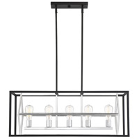 Savoy House 1-2240-5-67 Dexter 5 Light 34 inch Matte Black with Polished Chrome Accents Linear Chandelier Ceiling Light