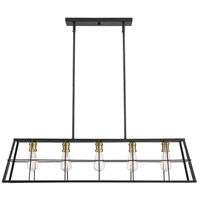 Bayden 5 Light 42 inch Vintage Black with Warm Brass Linear Chandelier Ceiling Light