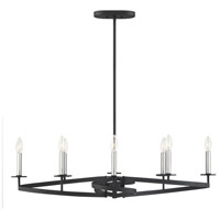 Savoy House 1-2272-8-145 Monteray 8 Light 38 inch Black with Satin Nickel Linear Chandelier Ceiling Light