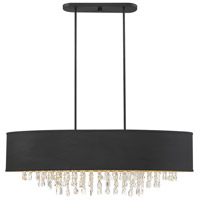 Savoy House 1-2290-8-126 Sparkler 8 Light 44 inch Black with Gold Leaf Linear Chandelier Ceiling Light