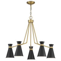 Savoy House 1-2415-5-143 Lamar 5 Light 30 inch Black/Brass Accents Chandelier Ceiling Light
