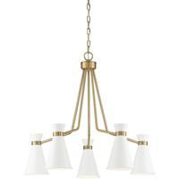 Savoy House 1-2415-5-160 Lamar 5 Light 30 inch White/Warm Brass Chandelier Ceiling Light
