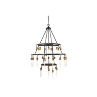 Campbell 35 Light 42 inch Vintage Black with Warm Brass Chandelier Ceiling Light