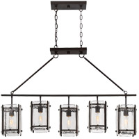 Glenwood 5 Light 45 inch English Bronze Trestle Ceiling Light in Clear Water Piastra