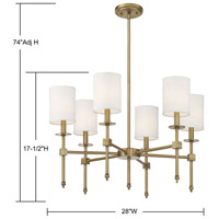 Savoy House 1-305-6-322 Chatham 6 Light 28 inch Warm Brass Chandelier Ceiling Light alternative photo thumbnail