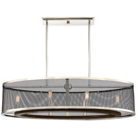 Valcor 6 Light 36 inch Polished Nickel with Graphite and Wood Accents Trestle Ceiling Light