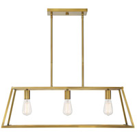 Savoy House 1-326-3-322 Denton 3 Light 33 inch Warm Brass Linear Chandelier Ceiling Light