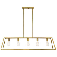 Savoy House 1-327-5-322 Denton 5 Light 45 inch Warm Brass Linear Chandelier Ceiling Light