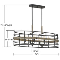 Savoy House 1-3922-6-120 Oakhill 6 Light 34 inch Provincial Wood with Ebony Linear Chandelier Ceiling Light alternative photo thumbnail