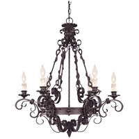 Savoy House Bourges 6 Light Chandelier in Forged Black 1-4314-6-17