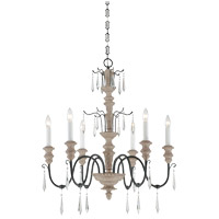 Madeliane 6 Light 28 inch Distressed White Wood and Iron Chandelier Ceiling Light