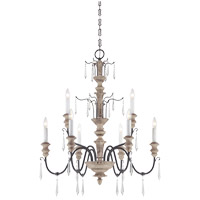 Madeliane 9 Light 31 inch Distressed White Wood and Iron Chandelier Ceiling Light