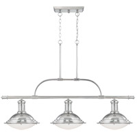Savoy House 1-4720-3-109 Trestle 3 Light 48 inch Polished Nickel Island Light Ceiling Light in White Opal Etched photo thumbnail