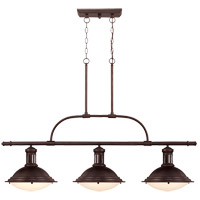 Savoy House 1-4720-3-13 Trestle 3 Light 48 inch English Bronze Island Light Ceiling Light in Cream Opal Etched photo thumbnail