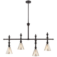 Darian 4 Light 44 inch Oiled Bronze Trestle Ceiling Light in Silvery Mercury