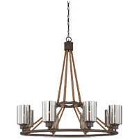 Maverick 8 Light 34 inch Artisan Rust Chandelier Ceiling Light in Hammered Mercury