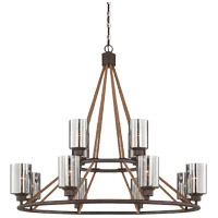 Maverick 12 Light 40 inch Artisan Rust Chandelier Ceiling Light in Hammered Mercury