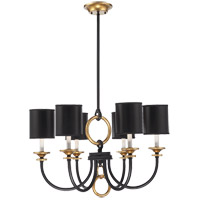 Parkdale 6 Light 28 inch Matte Black with Gold Highlights Chandelier Ceiling Light