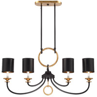 Savoy House Parkdale 4 Light Island Light in Matte Black with Gold Hi-Lites 1-561-4-46