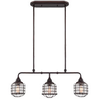 Connell 3 Light 35 inch English Bronze Trestle Ceiling Light in Clear Seeded