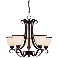 Willoughby 5 Light 25 inch English Bronze Chandelier Ceiling Light in Cream Marble