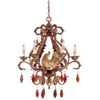 Savoy House Clyde 6 Light Chandelier in Relic Rust w/Hand Painted Accents 1-590-6-125