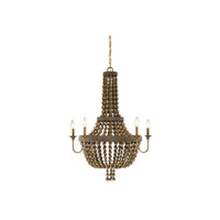 Cranford 5 Light 28 inch Vintage Brass Chandelier Ceiling Light