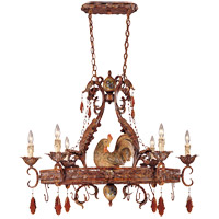 Savoy House Clyde 6 Light Chandelier in Relic Rust w/Hand Painted Accents 1-592-6-125
