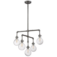 Dansk 5 Light 24 inch Galvanized Metal Chandelier Ceiling Light in Clear Seeded