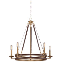 Harrington 5 Light 28 inch Harness Leather with Rubbed Brass Chandelier Ceiling Light