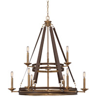 Harrington 9 Light 34 inch Harness Leather with Rubbed Brass Chandelier Ceiling Light