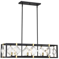 Savoy House 1-641-6-77 Lowell 6 Light 36 inch Bronze with Brass Accents Trestle Ceiling Light