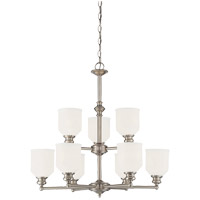 Melrose 9 Light 26 inch Satin Nickel Chandelier Ceiling Light in White Etched