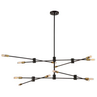 Lyrique 12 Light 54 inch Bronze with Brass Accents Chandelier Ceiling Light