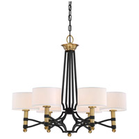 Exeter 6 Light 28 inch Carbon with Warm Brass Accents Chandelier Ceiling Light