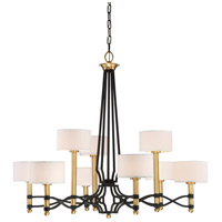 Exeter 9 Light 39 inch Carbon with Warm Brass Accents Chandelier Ceiling Light