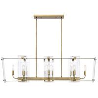 Savoy House 1-7113-8-322 Everett 8 Light 44 inch Warm Brass Linear Chandelier Ceiling Light
