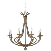 Rosette 8 Light 33 inch Chateau Linen Chandelier Ceiling Light