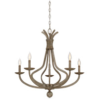Rosette 5 Light 28 inch Chateau Linen Chandelier Ceiling Light