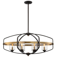Savoy House 1-8042-6-79 Kirkland 6 Light 32 inch English Bronze and Warm Brass Linear Chandelier Ceiling Light