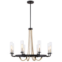 Kearney 8 Light 32 inch Vintage Black with Warm Brass Chandelier Ceiling Light