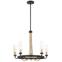 Kearney 5 Light 25 inch Vintage Black with Warm Brass Chandelier Ceiling Light