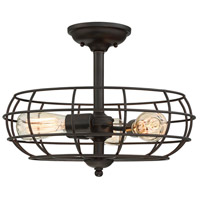 Scout 3 Light 16 inch English Bronze Semi-Flush Mount Ceiling Light