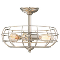Scout 3 Light 16 inch Satin Nickel Semi-Flush Mount Ceiling Light