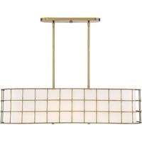 Savoy House 1-8500-5-322 Hayden 5 Light 42 inch Warm Brass Linear Chandelier Ceiling Light