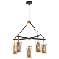 Dunbar 6 Light 28 inch Warm Brass with Bronze accents Chandelier Ceiling Light