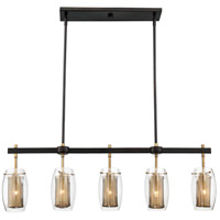 Dunbar 5 Light 40 inch Warm Brass with Bronze accents Trestle Ceiling Light