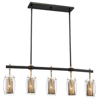 Savoy House 1-9061-5-95 Dunbar 5 Light 40 inch Warm Brass with Bronze accents Trestle Ceiling Light alternative photo thumbnail