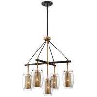 Dunbar 5 Light 23 inch Warm Brass with Bronze Accents Pendant Ceiling Light
